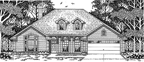 House Plan 79123 | European Style Plan with 2079 Sq Ft, 4 Bedrooms, 2 Bathrooms, 2 Car Garage Elevation