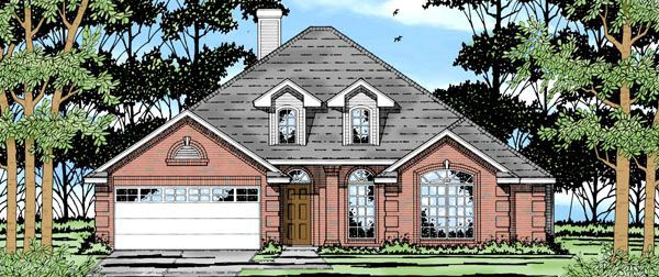 House Plan 79141 | European Style Plan with 1733 Sq Ft, 4 Bedrooms, 2 Bathrooms, 2 Car Garage Elevation