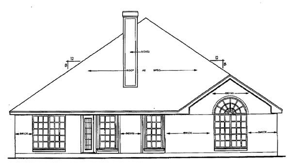 European House Plan 79147 Rear Elevation