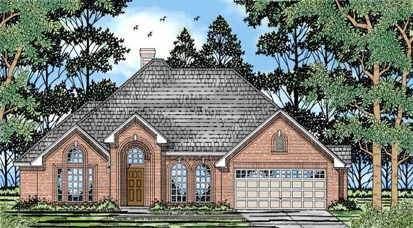House Plan 79155 | European Style Plan with 2039 Sq Ft, 4 Bedrooms, 2 Bathrooms, 2 Car Garage Elevation