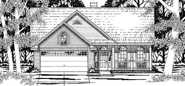 House Plan 79181   European Style Plan with 1595 Sq Ft, 3 Bedrooms, 2 Bathrooms, 2 Car Garage Elevation