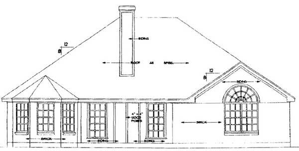European House Plan 79187 Rear Elevation