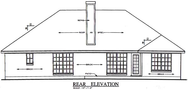 European House Plan 79191 Rear Elevation