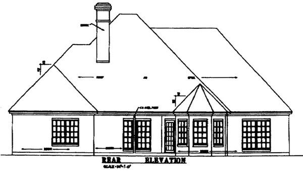 European Tudor House Plan 79210 Rear Elevation
