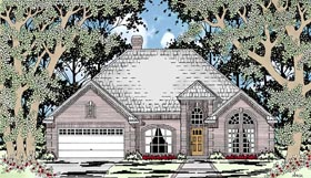 European , One-Story House Plan 79211 with 4 Beds, 2 Baths, 2 Car Garage Elevation