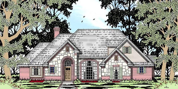 European Tudor House Plan 79214 Elevation