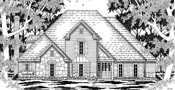 European Tudor Victorian House Plan 79223 Elevation