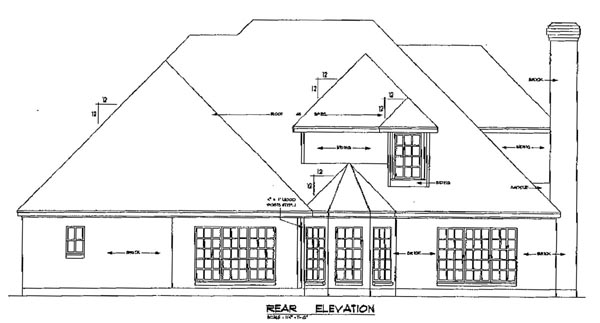 European Tudor Victorian House Plan 79223 Rear Elevation