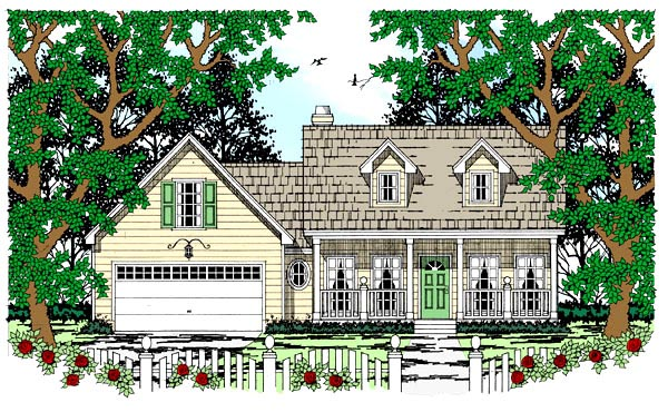 House Plan 79233 | Cape Cod Country Style Plan with 1573 Sq Ft, 3 Bedrooms, 2 Bathrooms, 2 Car Garage Elevation