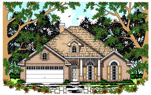 Colonial , European House Plan 79236 with 4 Beds, 2 Baths, 2 Car Garage Elevation