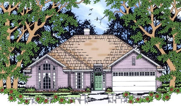 House Plan 79248 | European Style Plan with 1621 Sq Ft, 3 Bedrooms, 2 Bathrooms, 2 Car Garage Elevation