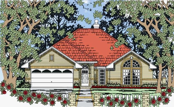 House Plan 79262 | European Traditional Style Plan with 1670 Sq Ft, 3 Bedrooms, 3 Bathrooms, 2 Car Garage Elevation