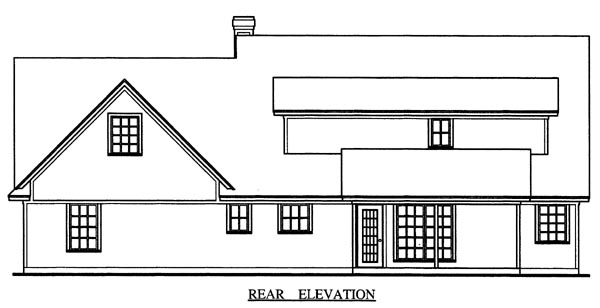 Cape Cod , Country , Rear Elevation of Plan 79270