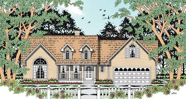 Country House Plan 79284 with 4 Beds, 2 Baths, 2 Car Garage Elevation