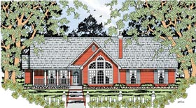 House Plan 79285 | Country Style Plan with 1676 Sq Ft, 4 Bedrooms, 2 Bathrooms, 2 Car Garage Elevation