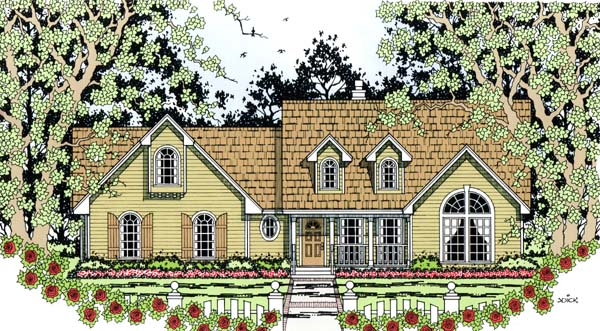Country, One-Story House Plan 79291 with 4 Beds, 2 Baths, 2 Car Garage Front Elevation