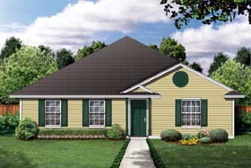 House Plan 79301 | Traditional Style House Plan with 1219 Sq Ft, 3 Bed, 2 Bath, 2 Car Garage Elevation