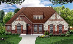 House Plan 79313 | European Tudor Style Plan with 2542 Sq Ft, 4 Bedrooms, 3 Bathrooms, 2 Car Garage Elevation