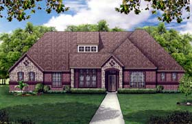 House Plan 79317 | European Traditional Style Plan with 3220 Sq Ft, 4 Bedrooms, 3 Bathrooms, 2 Car Garage Elevation