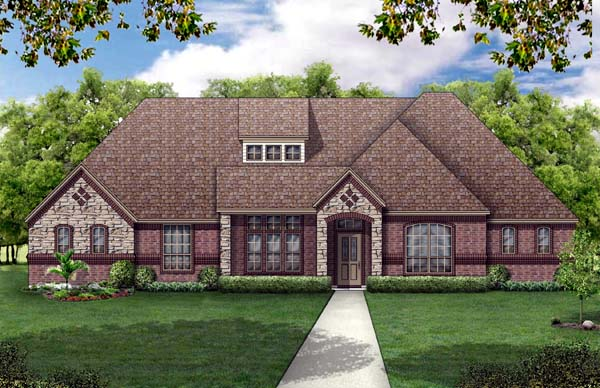 European, Traditional House Plan 79317 with 4 Beds, 3 Baths, 2 Car Garage Elevation
