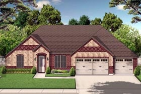 European , Traditional House Plan 79319 with 4 Beds, 3 Baths, 3 Car Garage Elevation