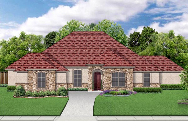 European Mediterranean Traditional House Plan 79326 Elevation
