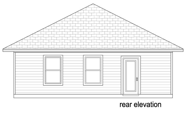 Cottage, Craftsman House Plan 79334 with 2 Beds, 2 Baths Rear Elevation