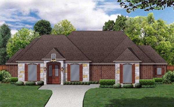 European Traditional House Plan 79335 Elevation