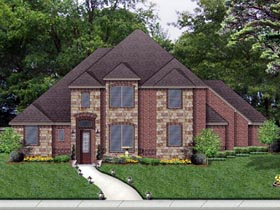 European , Traditional House Plan 79336 with 4 Beds, 3 Baths, 3 Car Garage Elevation