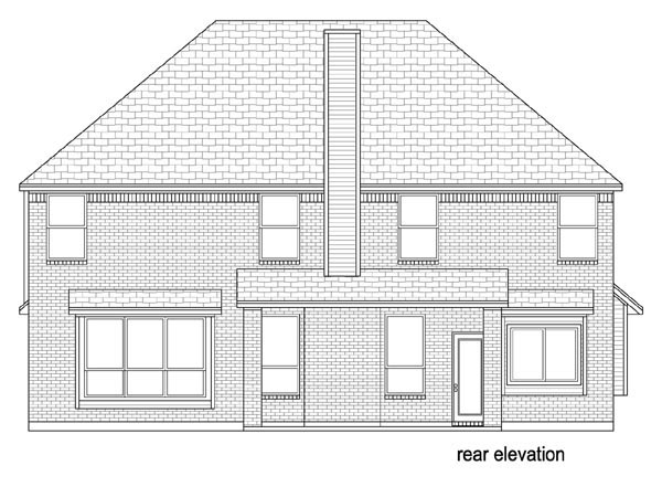 Traditional House Plan 79343 with 5 Beds, 3 Baths, 2 Car Garage Rear Elevation