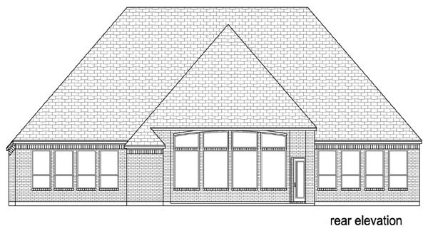 European , Traditional , Rear Elevation of Plan 79347