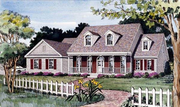 Cape Cod, Country, Farmhouse House Plan 79511 with 4 Beds, 3 Baths, 2 Car Garage Elevation