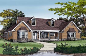 Cottage Country Farmhouse Southern Traditional House Plan 79512 Elevation