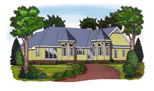 House Plan 79514 | Country Traditional Victorian Style Plan with 2367 Sq Ft, 3 Bedrooms, 2 Bathrooms, 2 Car Garage Rear Elevation