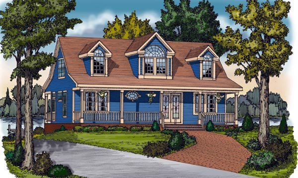 Cape cod cottage country farmhouse traditional house plan for Cape cod cottage house plans