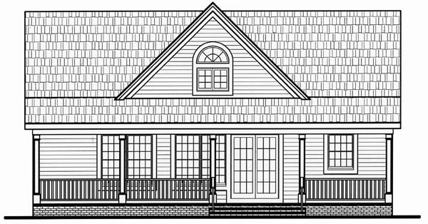 Cape Cod Cottage Country Farmhouse Traditional House Plan 79517 Rear Elevation
