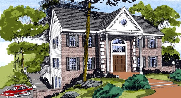 Colonial, Traditional House Plan 79520 with 4 Beds, 3 Baths, 2 Car Garage Elevation