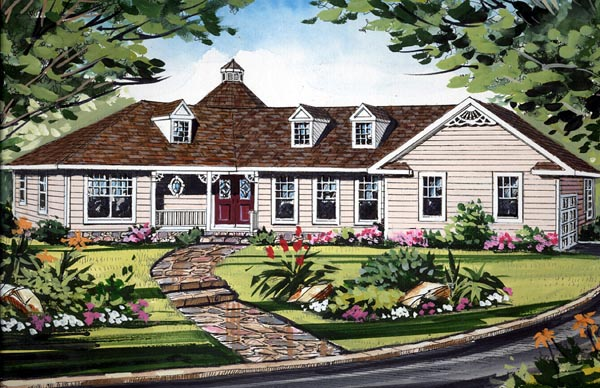 Country Craftsman Farmhouse Southern Traditional House Plan 79522 Elevation
