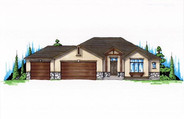 House Plan 79709 with 3 Beds, 3 Baths, 3 Car Garage Elevation
