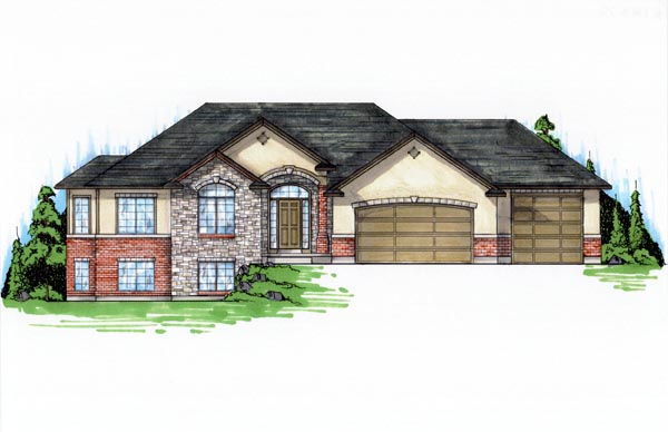 Traditional House Plan 79733 with 5 Beds, 4 Baths, 3 Car Garage Elevation