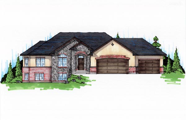 Traditional House Plan 79736 with 5 Beds, 4 Baths, 3 Car Garage Elevation