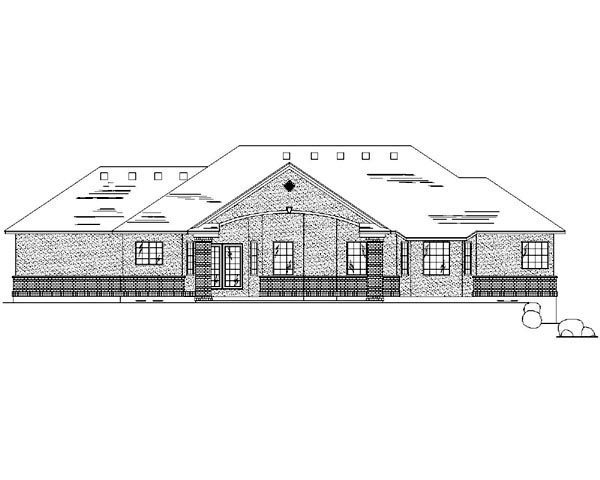 Traditional House Plan 79736 with 5 Beds, 4 Baths, 3 Car Garage Rear Elevation