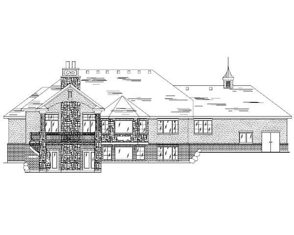 European House Plan 79755 with 5 Beds, 4 Baths, 3 Car Garage Rear Elevation