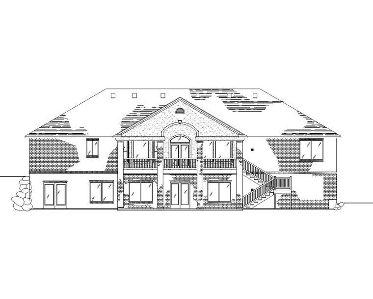 European House Plan 79770 with 2 Beds, 3 Baths, 3 Car Garage Rear Elevation