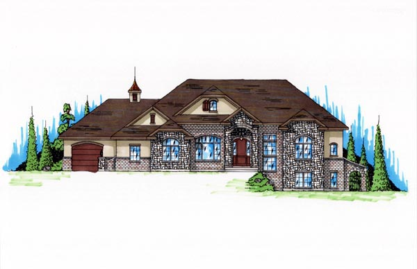 Traditional House Plan 79774 with 5 Beds, 4 Baths, 3 Car Garage Elevation