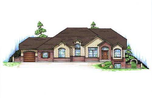 European House Plan 79790 with 5 Beds, 3 Baths, 3 Car Garage Elevation