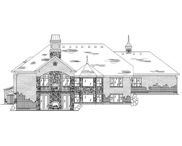 European House Plan 79809 with 5 Beds, 4 Baths, 3 Car Garage Rear Elevation