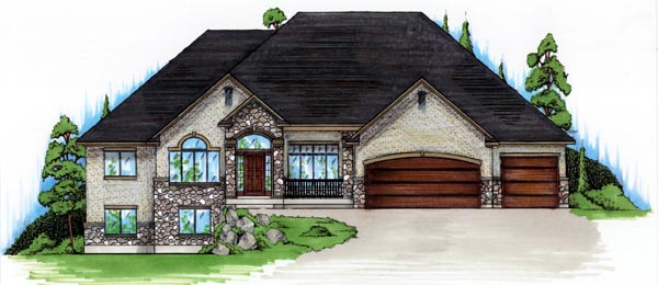 European House Plan 79813 with 3 Beds, 3 Baths, 3 Car Garage Elevation