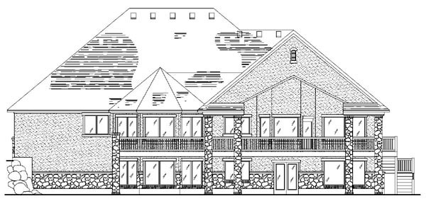 European House Plan 79813 with 3 Beds, 3 Baths, 3 Car Garage Rear Elevation