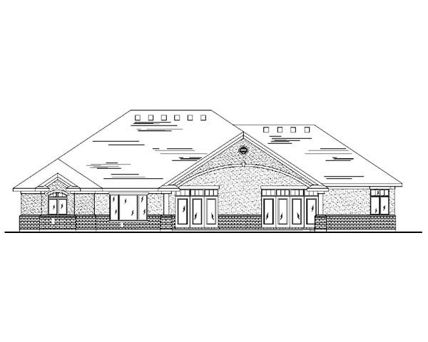 House Plan 79816 | Traditional Style Plan with 2536 Sq Ft, 2 Bedrooms, 2 Bathrooms, 3 Car Garage Rear Elevation